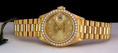 ROLEX - 26mm Ladies 18kt Gold PRESIDENT - Champagne Diamond - 69178 SANT BLANC