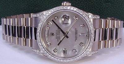 ROLEX - 36mm Mens 18kt WG DIAMOND DayDate President Mother of Pearl Dial 118389