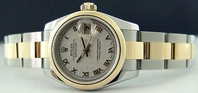 ROLEX - Ladies 18kt Gold & Stainless DateJust Cream Pyramid 179163 SANT BLANC