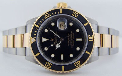 ROLEX - Mens 18kt Gold & SS SUBMARINER Black - 16613 SANT BLANC