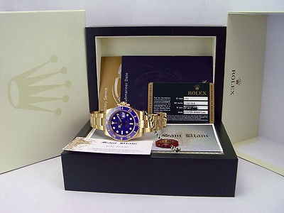 ROLEX - 18kt Gold SUBMARINER Blue CERAMIC Model 116618 With Card