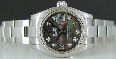 ROLEX - Ladies 18kt White Gold & SS 26mm Datejust TAHITIAN MOP 179174 SANT BLANC