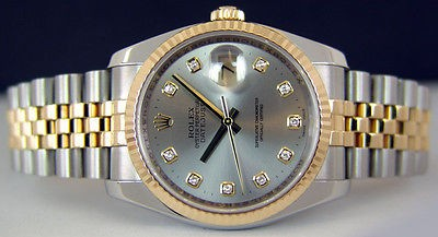 ROLEX 18kt GOLD & Stainless Mens 36mm DateJust Silver DIAMOND 116233 SANT BLANC