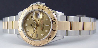 ROLEX Ladies Yacht-Master 18kt Gold & Stainless Steel Champagne 169623