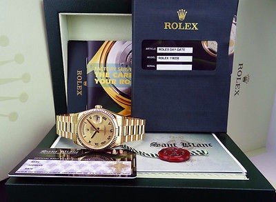 ROLEX -  Mens 36mm Gold Day-Date PRESIDENT Champagne ROMAN 118238 SANT BLANC