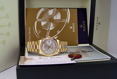 ROLEX - 36mm 18kt Gold Day-Date President Silver Index 118238 SANT BLANC