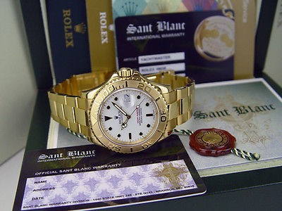 "ROLEX - Mens 40mm 18kt Gold YachtMaster ""Z"" - White Index - 16628 SANT BLANC"