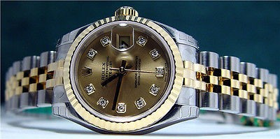 ROLEX - 18kt Gold & SS Ladies Diamond DateJust - 179173 SANT BLANC
