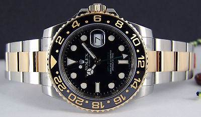 NEVER WORN ROLEX Mens 40mm Stainless & 18kt Gold GMT Master II 116713 SANT BLANC
