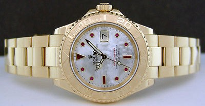 ROLEX - 18kt Yellow Gold YachtMaster MOP Pearl Ruby 16628 SANT BLANC