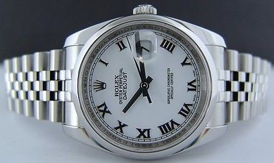 ROLEX - Mens 36mm Stainless Steel  DateJust White Roman Dial - 116200 SANT BLANC