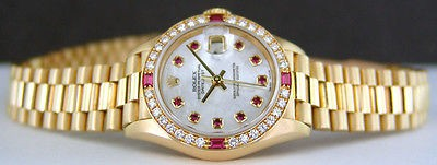 ROLEX - Ladies 18kt Yellow Gold President Diamond MOP Ruby Dial - SANT BLANC