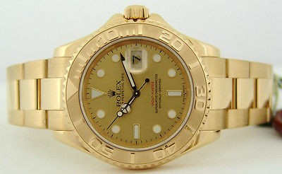 ROLEX - Mens 40mm 18kt Gold YachtMaster Champagne Index Dial - 16628 SANT BLANC