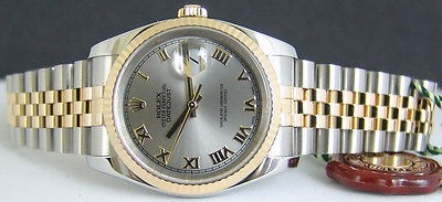 ROLEX - 18kt GOLD & Stainless Mens 36mm DateJust Rhodium ROMAN Dial - 116233