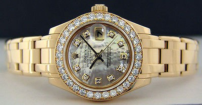ROLEX Ladies 18kt Gold PearlMaster Masterpiece MOP Diamond Dial 80298 SANT BLANC