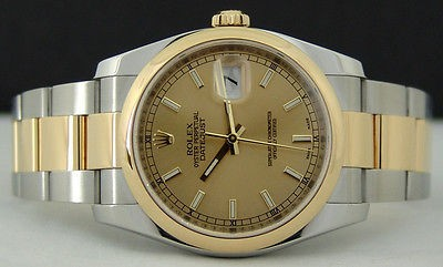 ROLEX Mens 18kt Gold & Stainless 36mm DateJust Champagne Index 116203 SANT BLANC