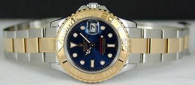 ROLEX - 29mm 18kt Gold & SS Ladies YachtMaster BLUE Index