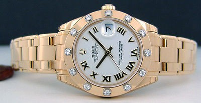 ROLEX - Mid-Size 34mm Yellow Gold Pearlmaster White Roman Dial 81318 SANT BLANC