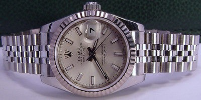 ROLEX - Ladies 26mm White Gold & SS Datejust Silver Index Dial 179174 SANT BLANC