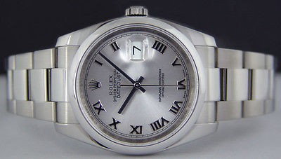 ROLEX - Mens 36mm Stainless Steel DateJust Silver Roman Dial - 116200