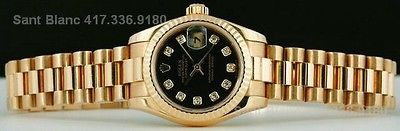 ROLEX - Ladies 18kt Gold DIAMOND PRESIDENT Black 179178 SANT BLANC