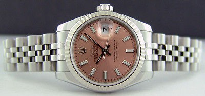 ROLEX - Ladies 26mm White Gold & SS Datejust Rose Index Dial - 179174 SANT BLANC