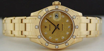 ROLEX 18kt Gold Ladies Pearlmaster MASTERPIECE Jubilee Diamond 80318 SANT BLANC