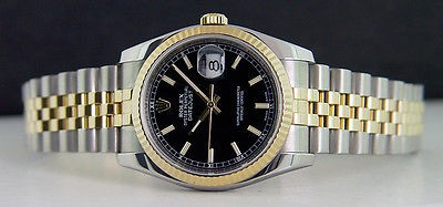 ROLEX - 36mm Men's 18kt Gold & SS DateJust Black Index Dial - 116233 SANT BLANC