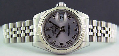 ROLEX - Ladies 26mm White Gold & SS Datejust Silver Roman Dial 179174 SANT BLANC