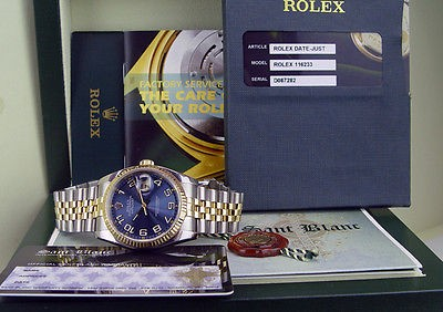 ROLEX - 18kt Gold & Stainless 36mm DateJust Blue Concentric 116233 SANT BLANC