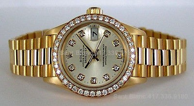 ROLEX - Ladies 18kt Gold PRESIDENT Diamond Dial - 79178 SANT BLANC