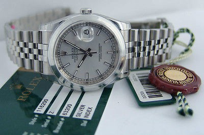 ROLEX - Mens 36mm Stainless Steel DateJust Silver Index Dial - 116200