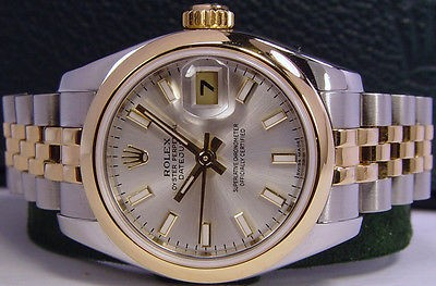 ROLEX - Ladies 18kt Gold & Stainless DateJust - Silver Index 179163 SANT BLANC
