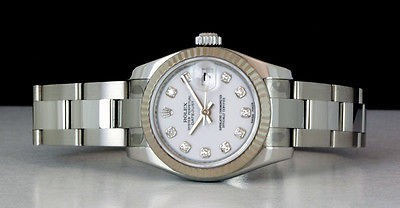 ROLEX - Ladies 26mm 18kt WG & SS Datejust White DIAMOND - 179174 SANT BLANC