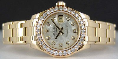 ROLEX Ladies 29mm 18kt Gold PearlMaster Masterpiece MOP Diamond 80298