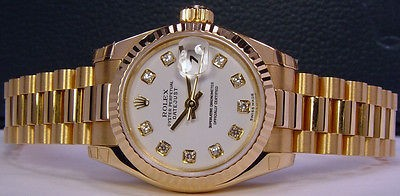 ROLEX - Ladies18kt Gold White Diamond PRESIDENT 179178 SANT BLANC