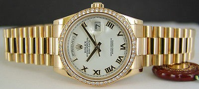 ROLEX - Mens 18kt Gold DIAMOND Day-Date PRESIDENT White Roman 118348 SANT BLANC