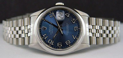 ROLEX - Mens Stainless Steel 36mm Datejust Blue Concentric Arabic Dial - 16200