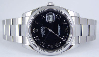 ROLEX - Mens Stainless Steel DateJust Black Sunbeam Dial - 116200