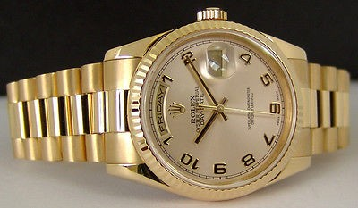ROLEX - Mens 36mm 18kt Gold Day-Date President Champagne Arabic Dial - 118238