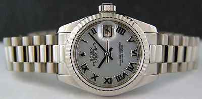 ROLEX - 26mm Ladies 18kt White Gold PRESIDENT Mother of Pearl Roman Dial - 179179