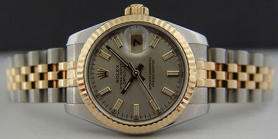 ROLEX  26mm Ladies 18kt Gold & SS DateJust Silver Index Dial - 179173 SANT BLANC