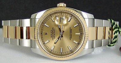 ROLEX - Mens 18kt Gold & SS DateJust Champagne - 116233 SANT BLANC