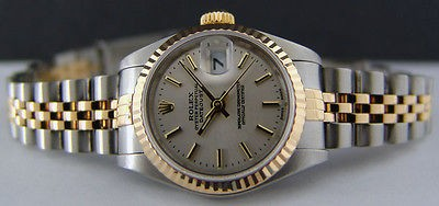 ROLEX - 26mm 18kt Gold & SS Ladies DateJust Silver Stick Dial - 79173 SANT BLANC