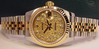 ROLEX - Ladies 18kt Gold & Stainless Steel  DATEJUST Mother of Pearl Jubilee Diamond 179173