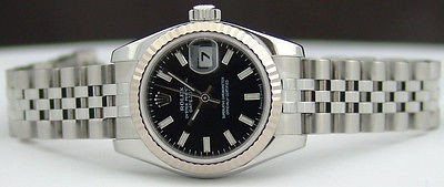 ROLEX - Ladies 26mm White Gold & Stainless Steel Datejust Black Index Dial 179174