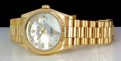 ROLEX - Mens 18kt Gold Day-Date President Pearl DIAMOND Dial - 118238 SANT BLANC