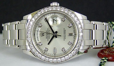 ROLEX - Men's 39mm Platinum Masterpiece Silver Diamond Dial - 18946