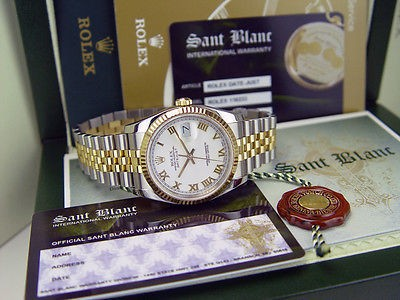 ROLEX - 18kt Gold & Stainless Mens 36mm DateJust White Roman 116233
