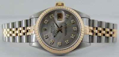 ROLEX - 18kt Gold & SS Ladies 26mm DateJust MOP Diamond Dial - 79173 SANT BLANC